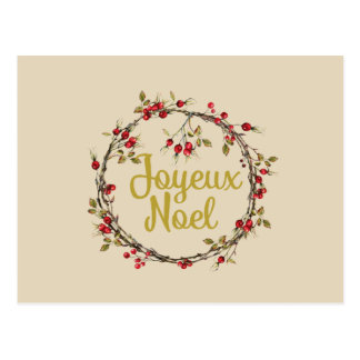 Joyeux Noel French Rustic Christmas Wreath Postcard