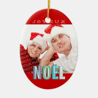 Joyeux Noel funky blue red chic christmas holiday Ceramic Ornament