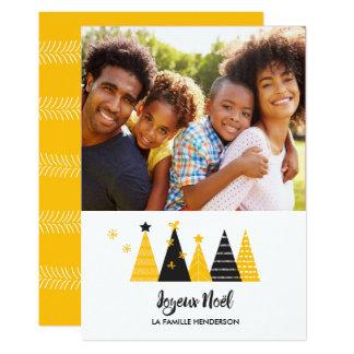Joyeux Noël Gold & Black Christmas Trees Card