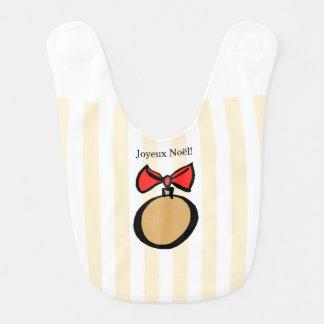 Joyeux Noël Gold Christmas Ornament Baby Bib Yello
