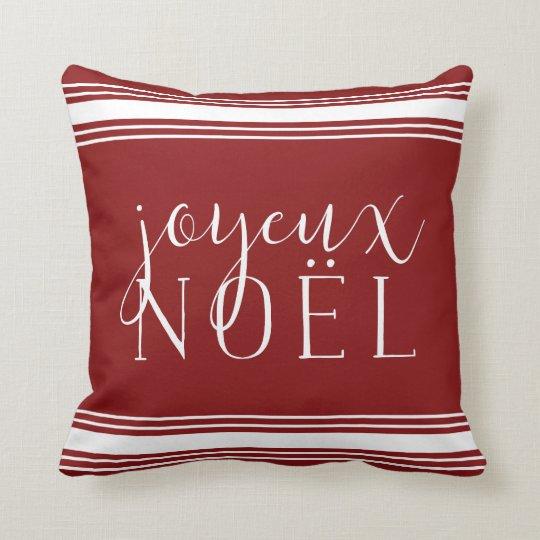 Joyeux Noel Grainsack Stripe Holiday Throw Pillow