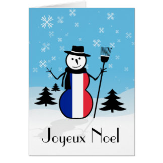 Joyeux Noel Merry Christmas French Snowman France Greeting Card