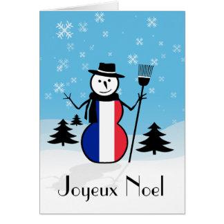 Joyeux Noel Merry Christmas French Snowman France Greeting Card