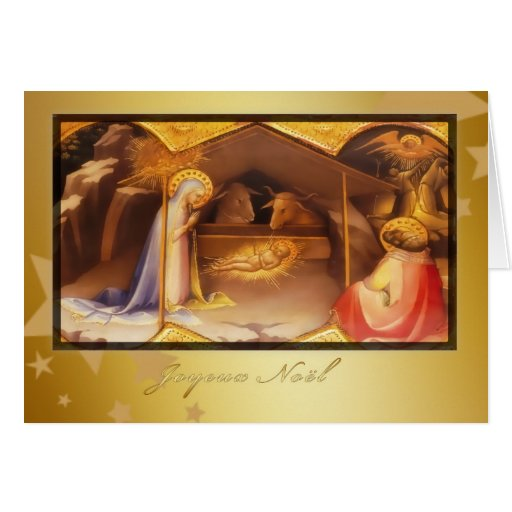 joyeux Noël, Merry christmas in French, nativity Cards