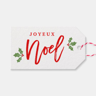 Joyeux Noel Merry Christmas Modern Simple Stylish Pack Of Gift Tags