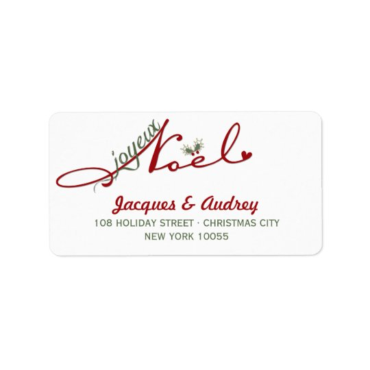 Joyeux Noel Mistletoe Holiday Address Labels