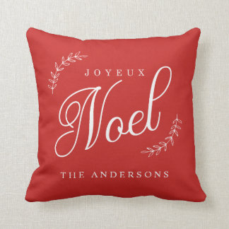 Joyeux Noel Modern Christmas Decorations Throw Pillow