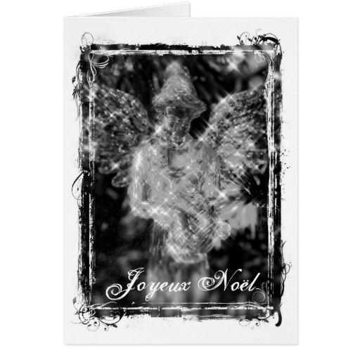 Joyeux Noël Monochrome Angel Card