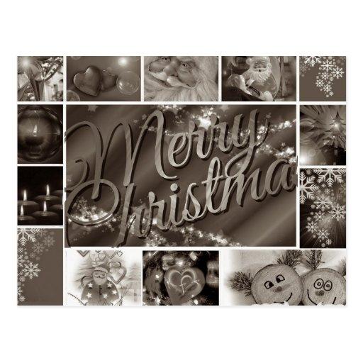 Joyeux no l noir et blanc vintage carte postale zazzle - Joyeux noel noir et blanc ...