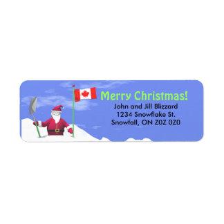 Joyeux Noël Père Noël au Canada Étiquette D'adresse Retour