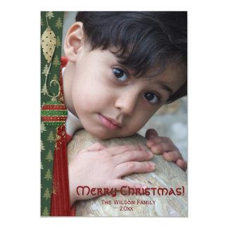 Joyeux Noël Photocard d'ornement démodé Carton D'invitation 12,7 Cm X 17,78 Cm