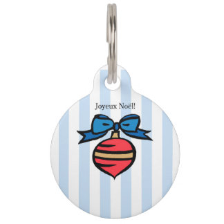 Joyeux Noël Red Christmas Ornament Pet Tag Blue
