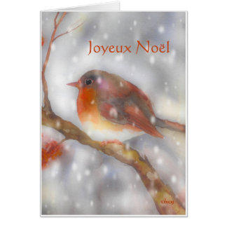 joyeux noel robin and snowflakes greeting card