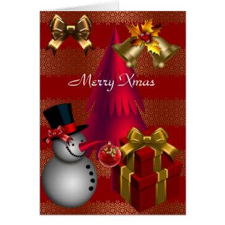 Joyeux Noël rouge de rayure d'or de Noël de carte