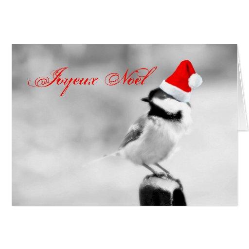 Joyeux Noel Santa Chickadee Greeting Cards