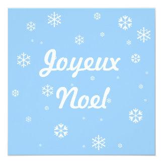 "Joyeux Noel Snowflakes 5.25"" Square Invitation Card"