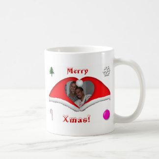 Joyeux Noël une photo dans Noël-chapeaux en forme Mug Blanc
