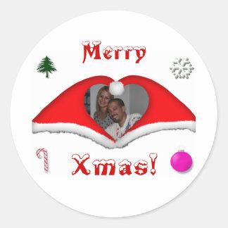 Joyeux Noël une photo dans Noël-chapeaux en forme Sticker Rond