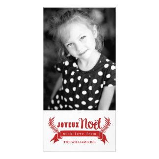 Joyeux Noel Vertical Holiday Photo Card / Red