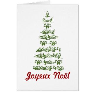 Joyeux Noël Vintage Bird Tree Holiday Card