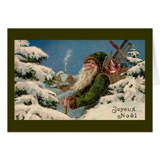 """Joyeux Noel"" Vintage Christmas Card"" Card"