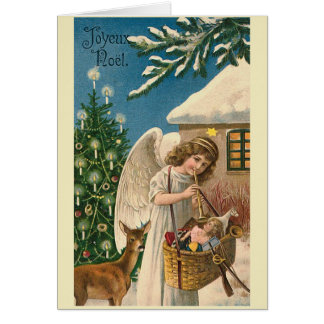 """Joyeux Noel Vintage Christmas Card"" Greeting Card"