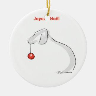 Joyeux Noël Weimaraner Ceramic Ornament