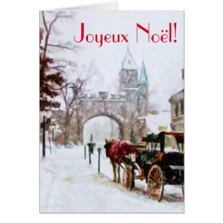 Joyeux Noel Winter in Quebec City French Francais Card
