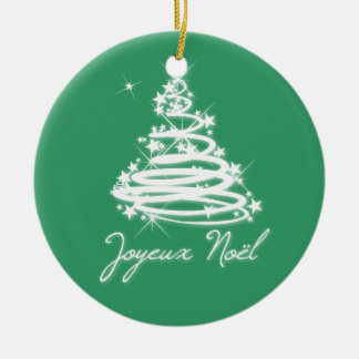 Joyeux Noël with Christmas Tree Ceramic Ornament