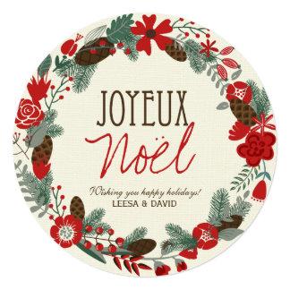 "Joyeux Noel Wreath Photo Cards Designs 5.25"" Square Invitation Card"