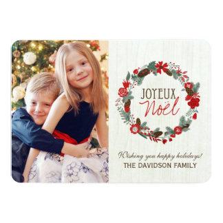 "Joyeux Noel Wreath Photo Cards Designs 5"" X 7"" Invitation Card"