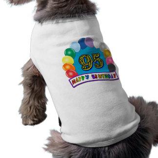 Joyeux quatre-vingt-quinzième anniversaire avec de tee-shirt pour animal domestique
