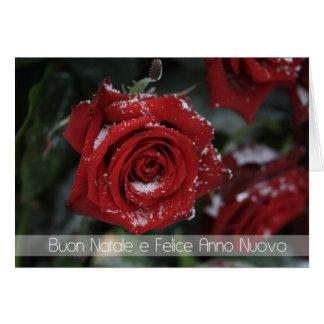 joyeux rouge neigeux Noël-Heureux italien r de nou Carte De Vœux