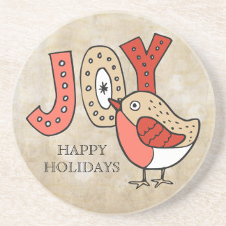 Joyful Bird Rustic Christmas Coaster