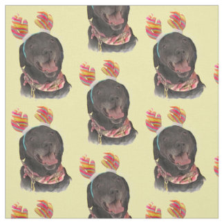 Joyful Black Labrador Retriever Dog Fabric