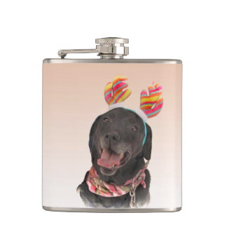 Joyful Black Labrador Retriever Dog Flask