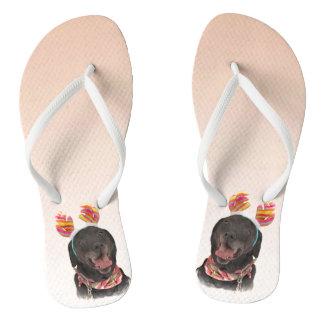Joyful Black Labrador Retriever Dog Flip Flops