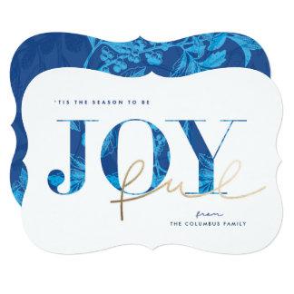 Joyful Blue Vintage Botanical Holiday Card