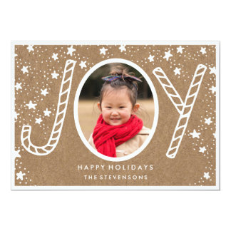 Joyful Candy Cane | Rustic Kraft Holiday Card