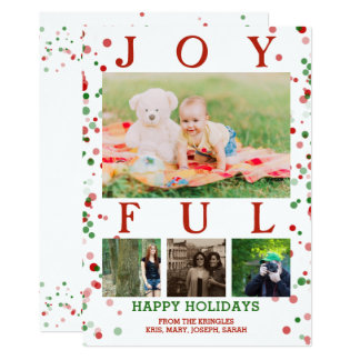Joyful Christmas Family Photo Collage Red Green Card