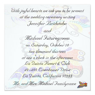 Joyful Colorful Butterfly Wedding 5.25x5.25 Square Paper Invitation Card