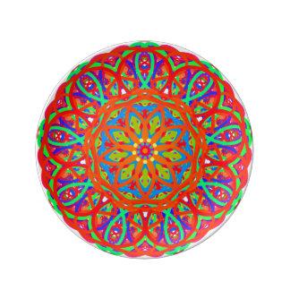 Joyful Dance Orange Mandala Porcelain Plate