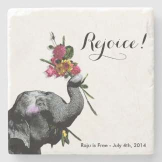 Joyful Elephant - Live for the Day! Stone Coaster
