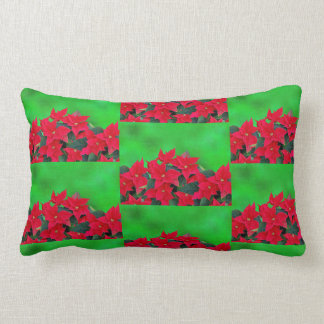 Joyful festive red poinsettia Christmas pillow