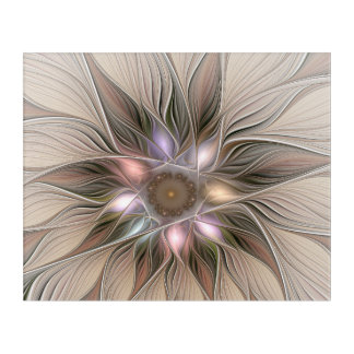 Joyful Flower Abstract Beige Brown Floral Fractal Acrylic Wall Art