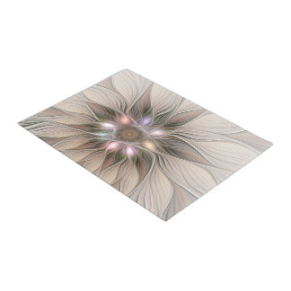 Joyful Flower Abstract Beige Brown Floral Fractal Doormat