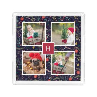 Joyful Foliage | Holiday Photo Collage Acrylic Tray