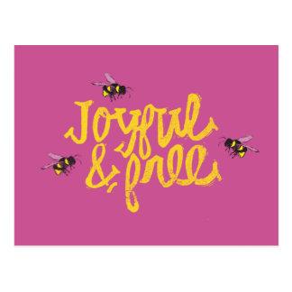 Joyful & Free bees illustration Postcard