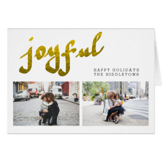 Joyful Gold Foil Modern Holiday Two Photo Collage Card