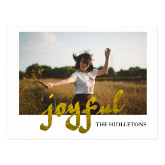 Joyful Gold Foil Modern Holiday Typography Photo Postcard